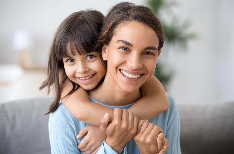 happy mother and daughter spending time together