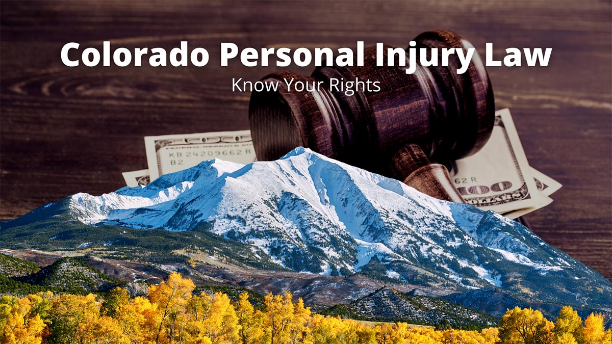 Colorado personal injury law with Mt. Sopris, a gavel, and money in the background