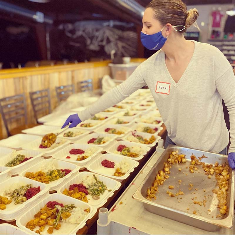 Serving Thanksgiving Meals at Snow Bowl