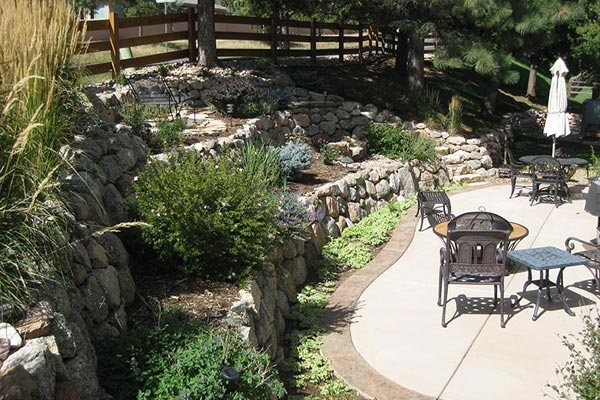 Backyard landscape design project with tiered retaining walls.