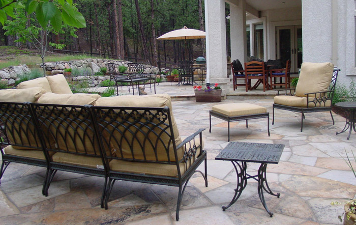 Spacious backyard flagstone patio in Black Forest.