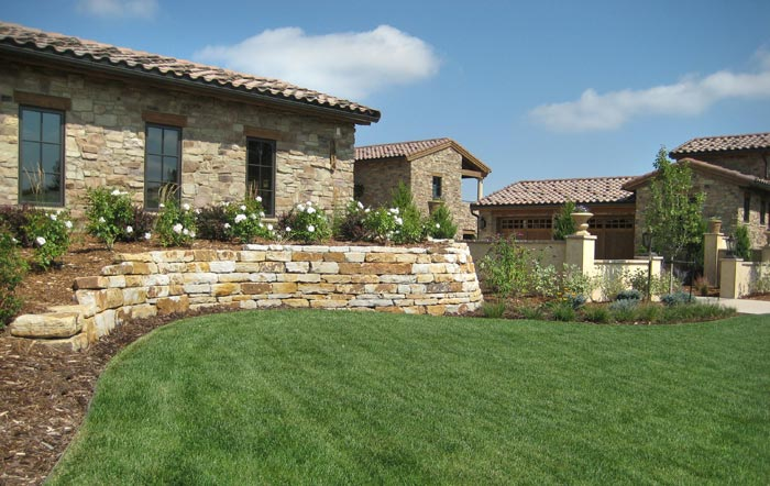 Siloam Stone retaining wall built for residence in Flying Horse.