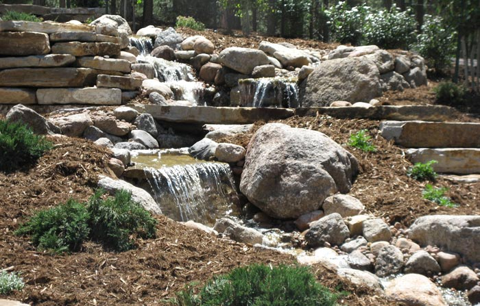 Water feature with stream, bridge, and water falls.