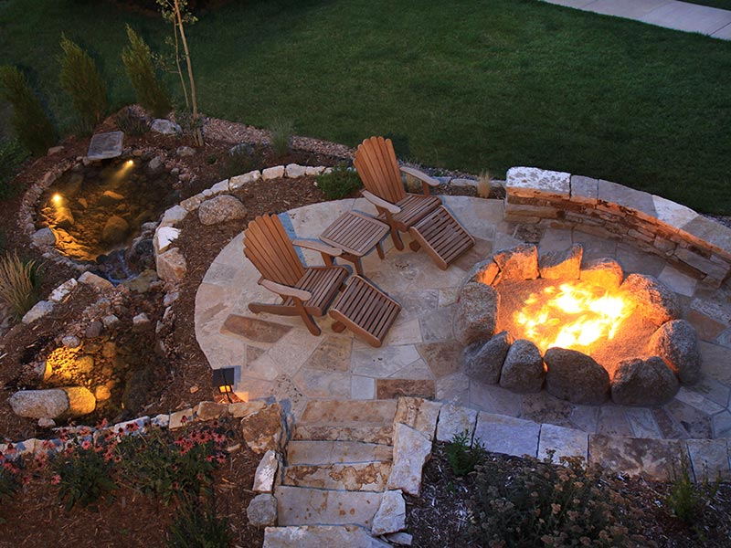Backyard patio with stone pavers and fire pit.
