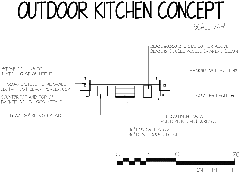 An outdoor kitchen design for a residence in Black Forest, Colorado.