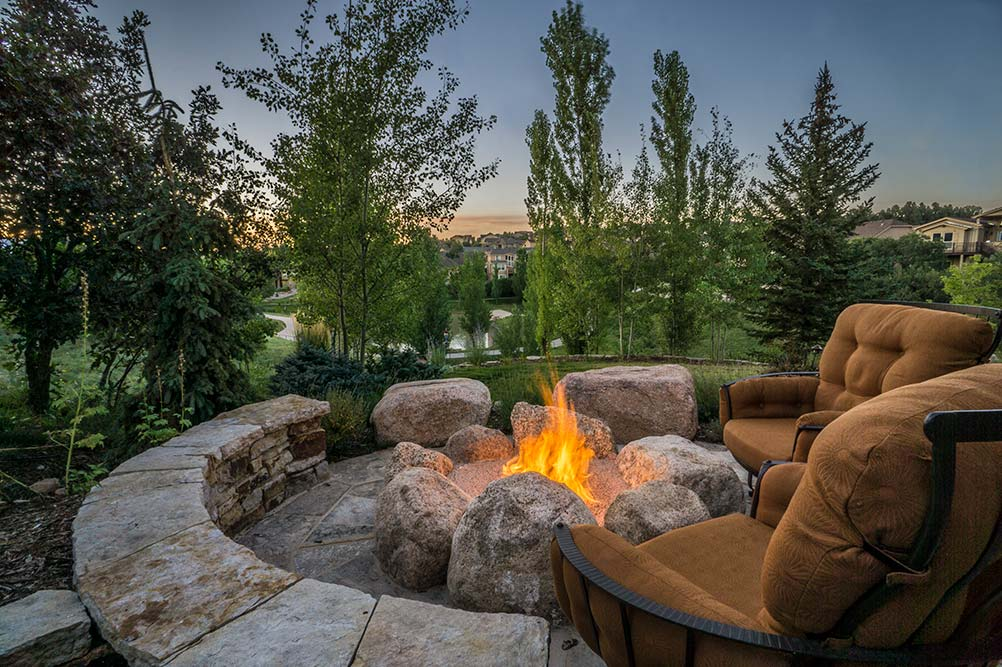 Landscape Design with Fire Pit and View