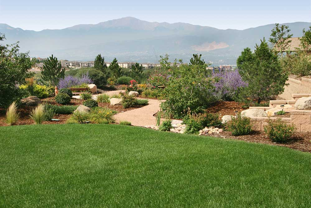 This garden includes a garden path and small sitting area that are sure to get you out into your landscape.