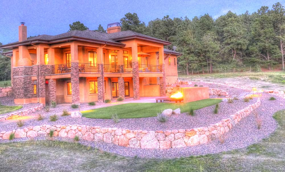 Low maintenance landscape design for a luxury home in Colorado Springs, CO.