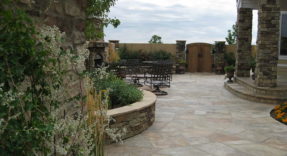 Finished courtyard design in the Peregrine neighborhood of Colorado Springs, CO.