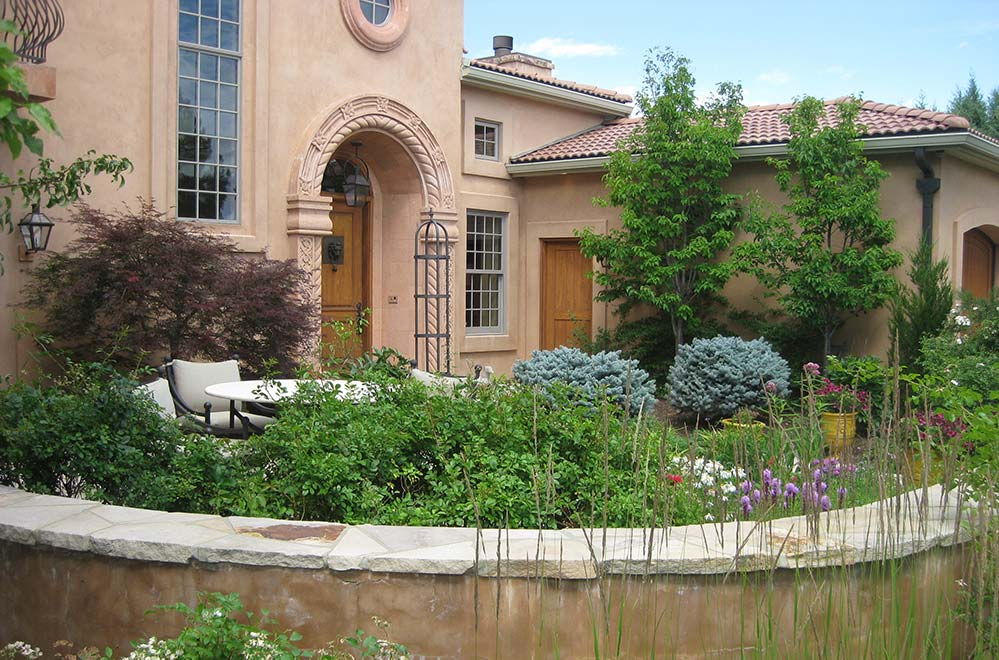 A beautiful front courtyard at residence in University Park area of Colorado Springs, CO for a client that is an avid gardener.
