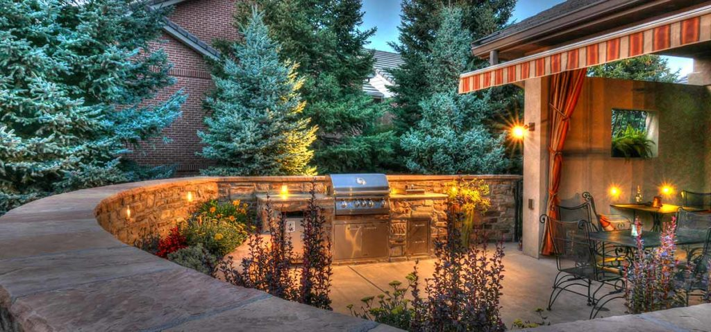 Low voltage outdoor lighting in the patio wall.