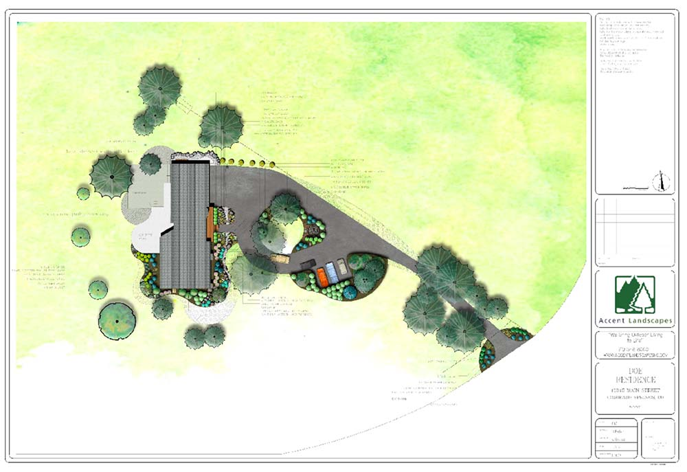 A plan that shows how the residential landscape design process can be put to paper.