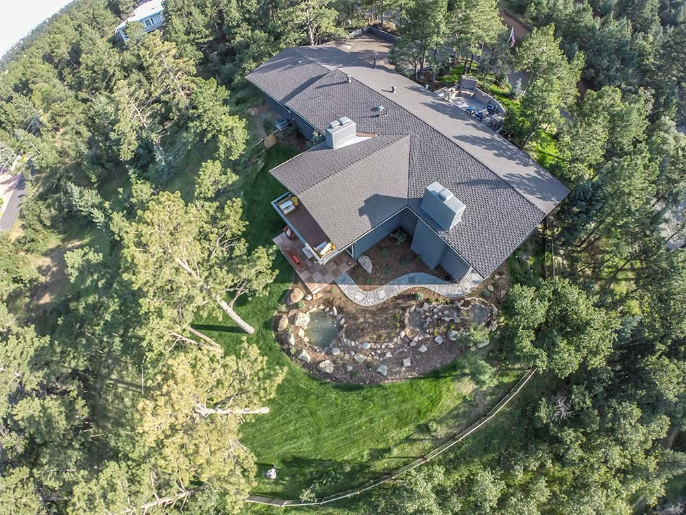 Arial photo of a landscape design project that had an intensive tree preservation plan.
