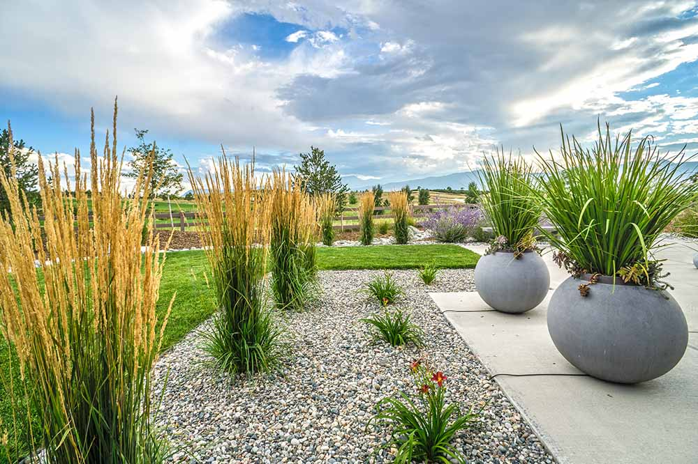 Balance and repetition are good landscape design principles.