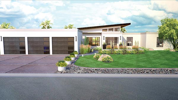 Contemporary home architectural rendering in Paradise Valley, AZ.