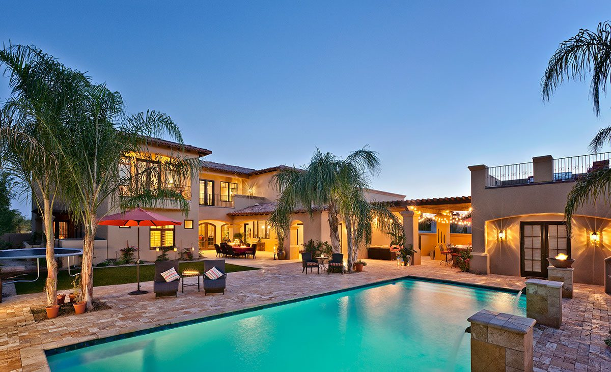 Custom home with courtyard and pool