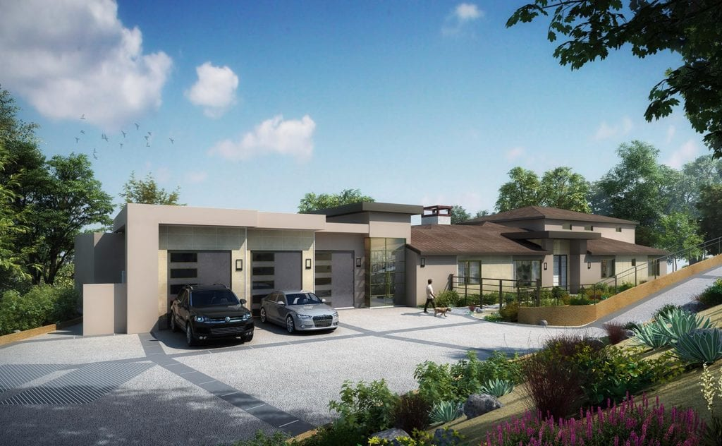 architectural digital rendering for modern home
