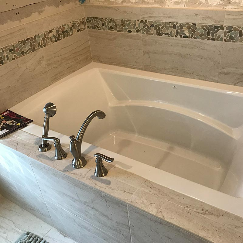 in deck tub after remodel with tile