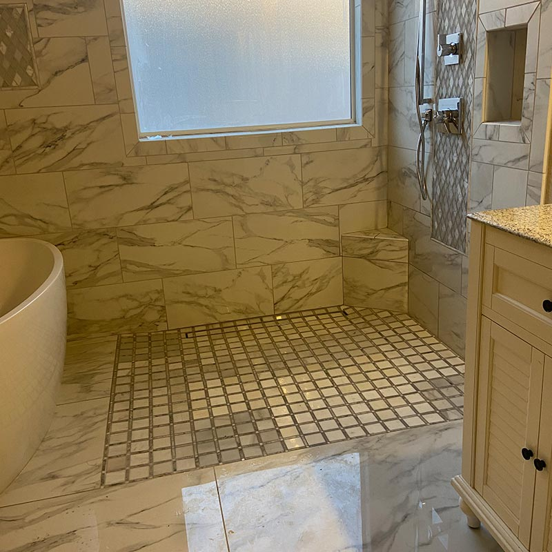 After photo of master shower