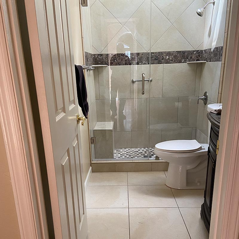 before photo of guest shower